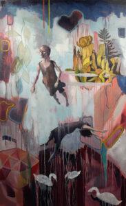 Yvonne DuBourdieu: Untitled (Freefall #1), oil on canvas, 60 x 36 inch, 2020
